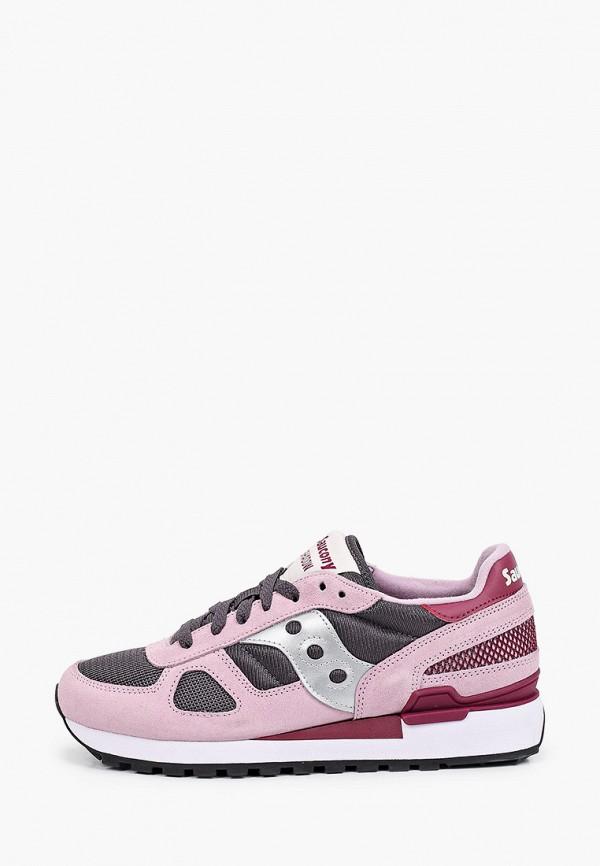 женские низкие кроссовки saucony, розовые