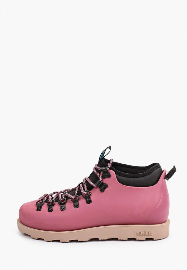 женские высокие ботинки native, розовые