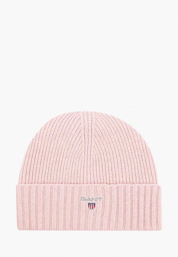 женская шапка gant, розовая