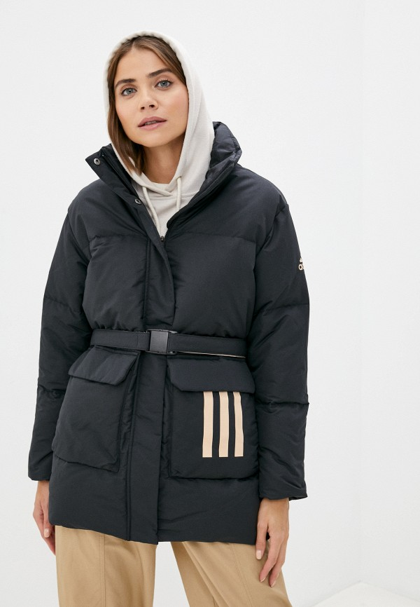 женский пуховик adidas, черный