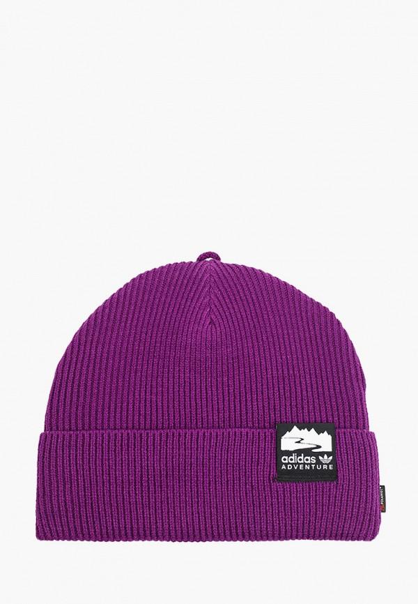 женская шапка adidas, фиолетовая