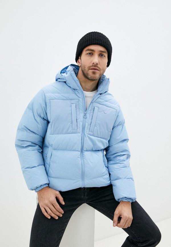 мужской пуховик adidas, голубой