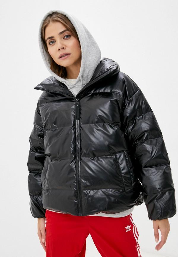 женская кожаные куртка adidas, черная