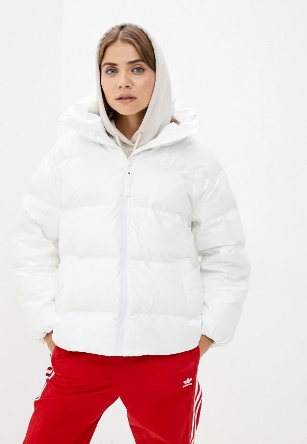 женская кожаные куртка adidas, белая