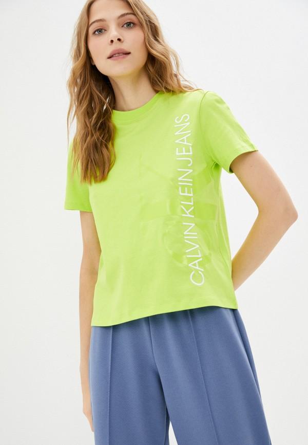 женская футболка calvin klein, зеленая
