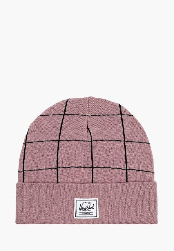 женская шапка herschel supply co, розовая