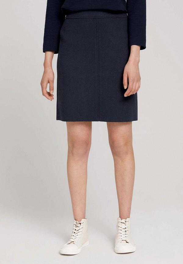 женская прямые юбка tom tailor, синяя