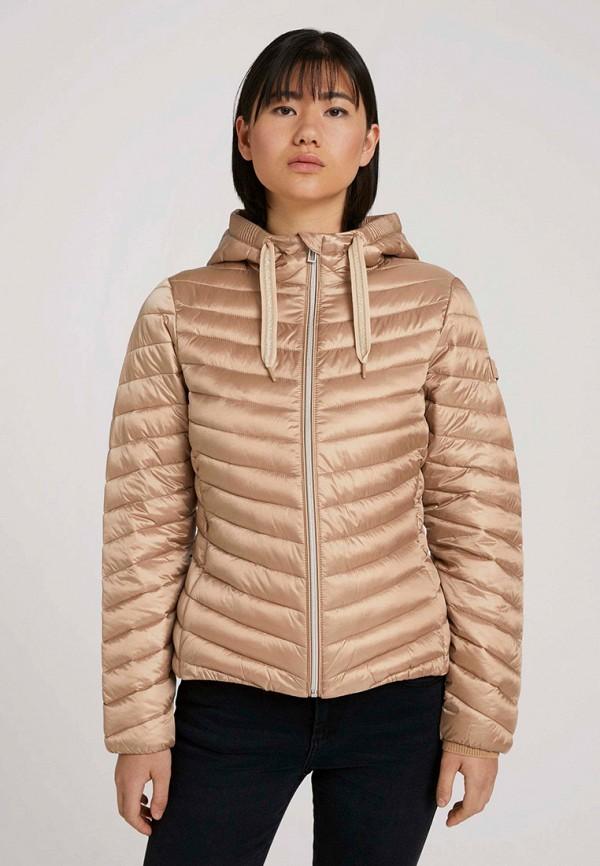 женская утепленные куртка tom tailor, бежевая