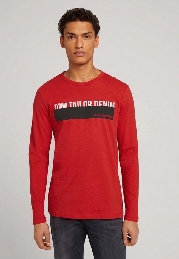 мужской лонгслив tom tailor, красный