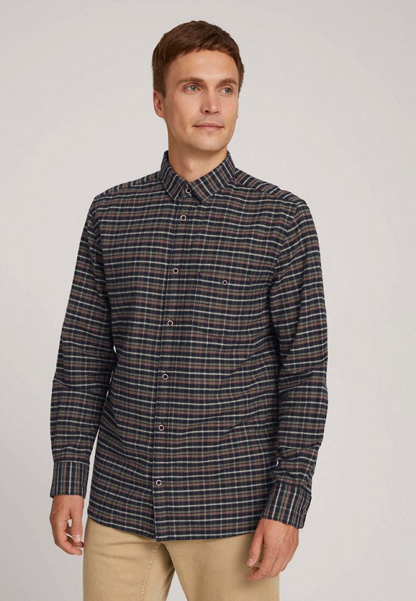 мужская рубашка с длинным рукавом tom tailor, коричневая