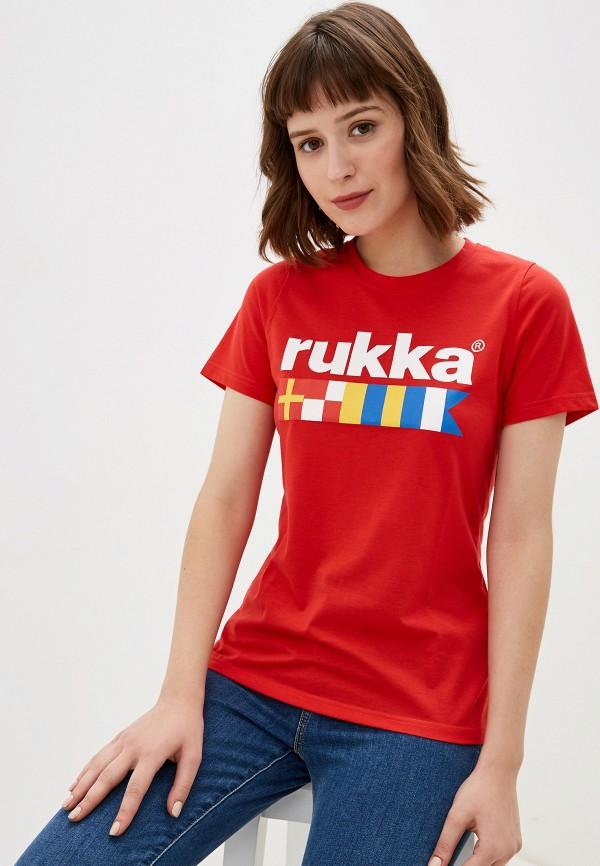 женская спортивные футболка rukka, красная