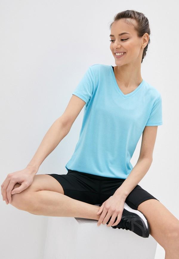 женская спортивные футболка rukka, голубая