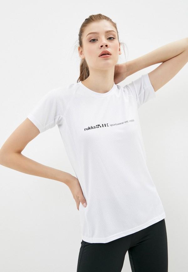 женская спортивные футболка rukka, белая