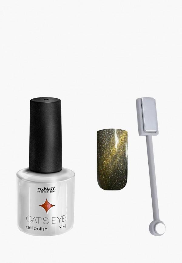 Купить Набор для ухода за ногтями Runail Professional, магнит и Гель-лак Cat's eye золотистый блик, цвет: Сингапурская кошка, RU010LWCWHI8, хаки, Осень-зима 2018/2019