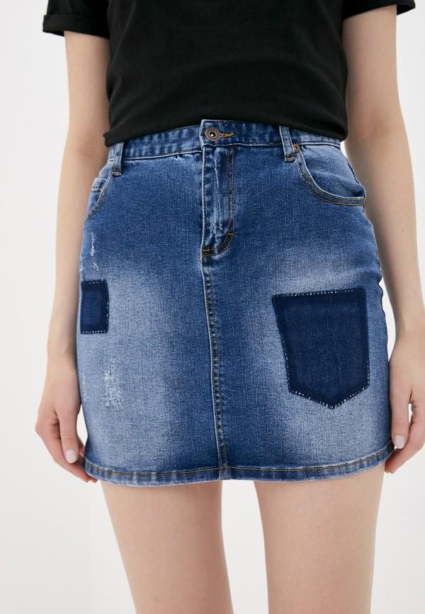 женская джинсовые юбка savage, синяя