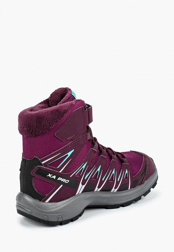 Фото 2 - Ботинки трекинговые Salomon фиолетового цвета