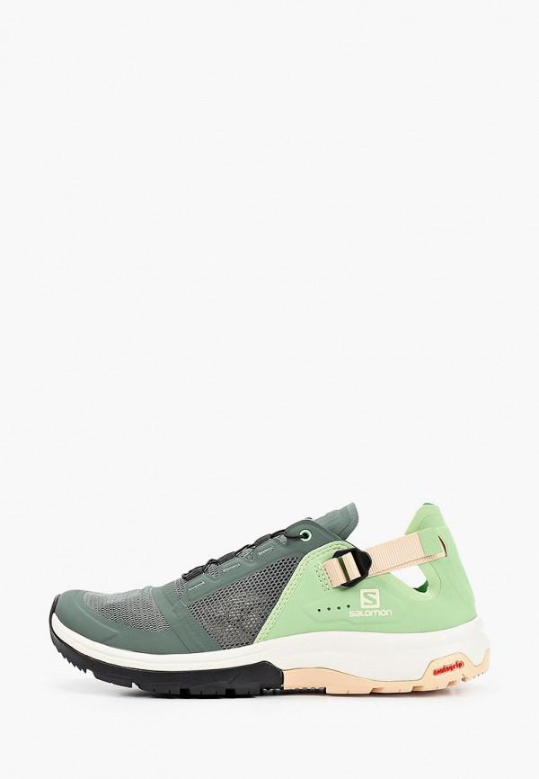женские кроссовки salomon, зеленые