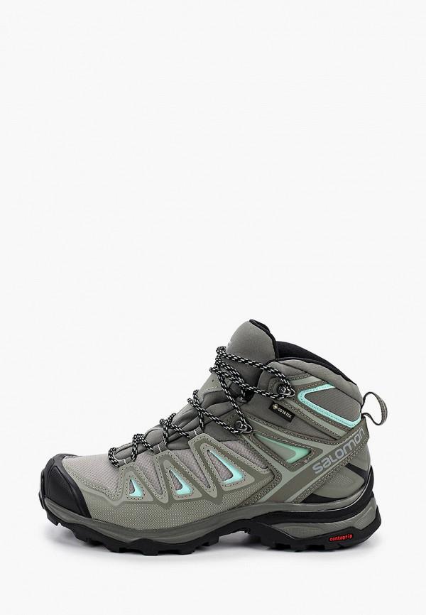 женские ботинки salomon, зеленые