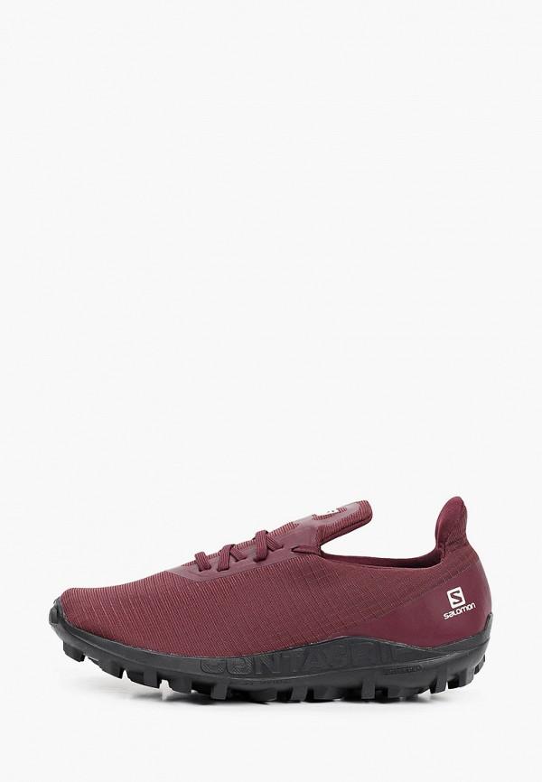женские низкие кроссовки salomon, бордовые
