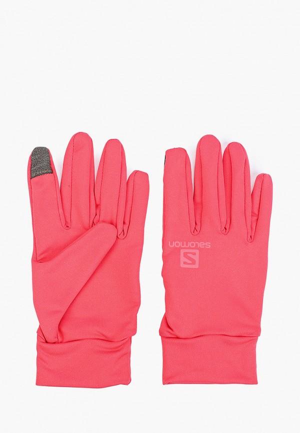 женские перчатки salomon, розовые