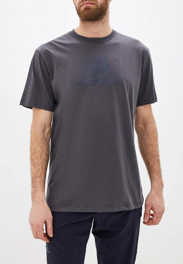 мужская футболка с коротким рукавом salomon, серая