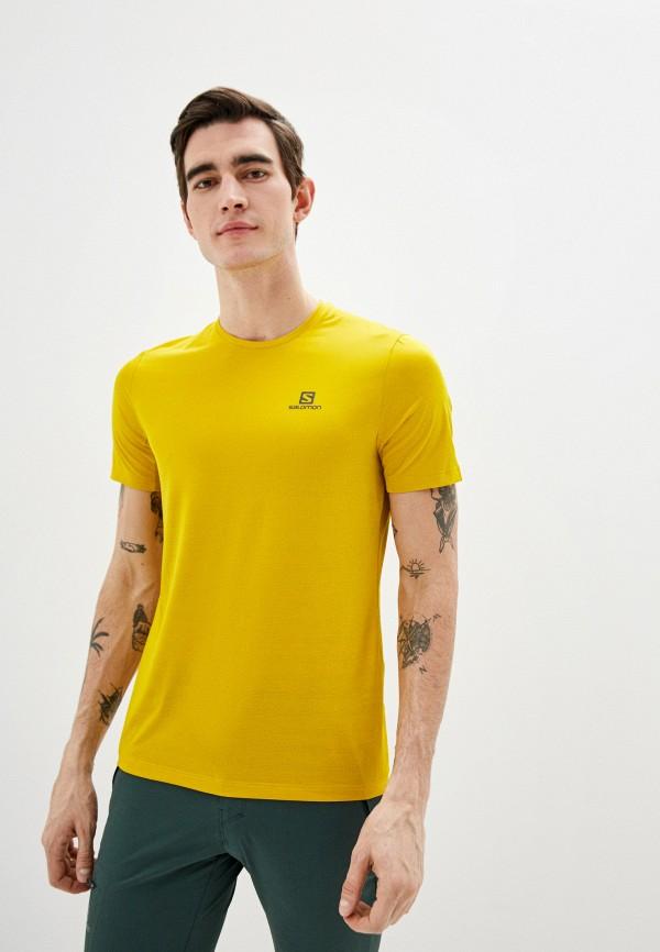 мужская спортивные футболка salomon, желтая