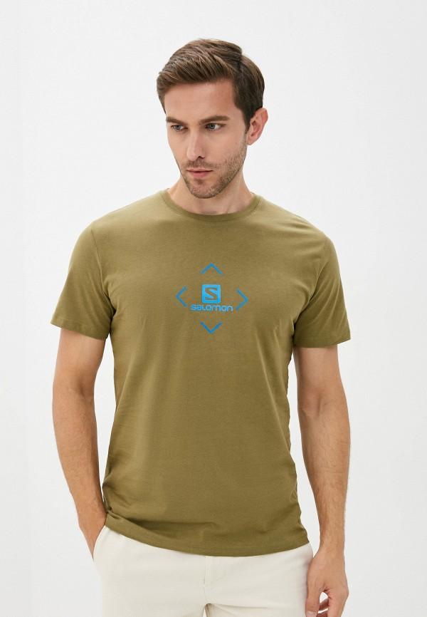 мужская спортивные футболка salomon, хаки