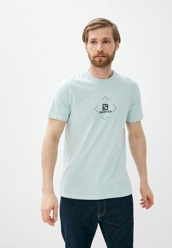 мужская спортивные футболка salomon, бирюзовая