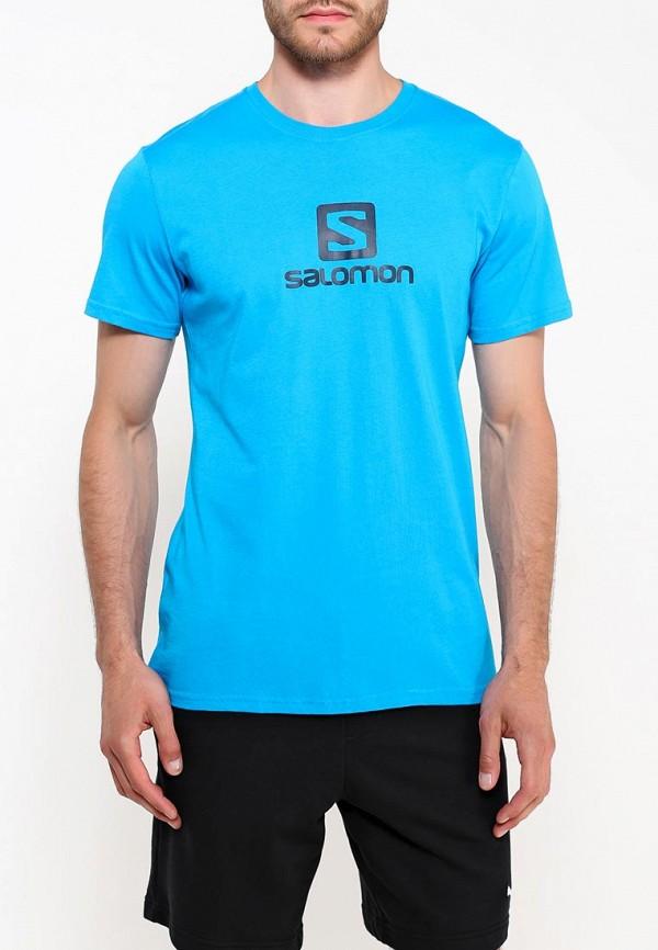 Купить Футболка Salomon, COTON LOGO SS TEE M, sa007emuhk10, голубой, Осень-зима 2018/2019