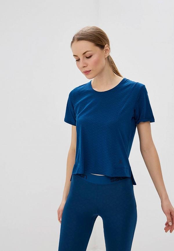 женская футболка salomon, синяя