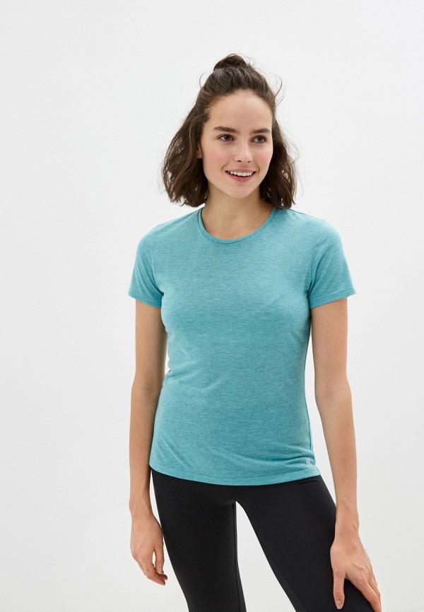 женская спортивные футболка salomon, бирюзовая