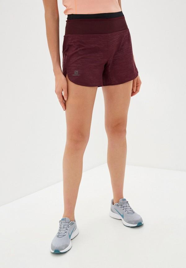 женские спортивные шорты salomon, бордовые