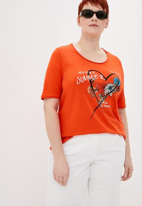женская футболка samoon by gerry weber, оранжевая