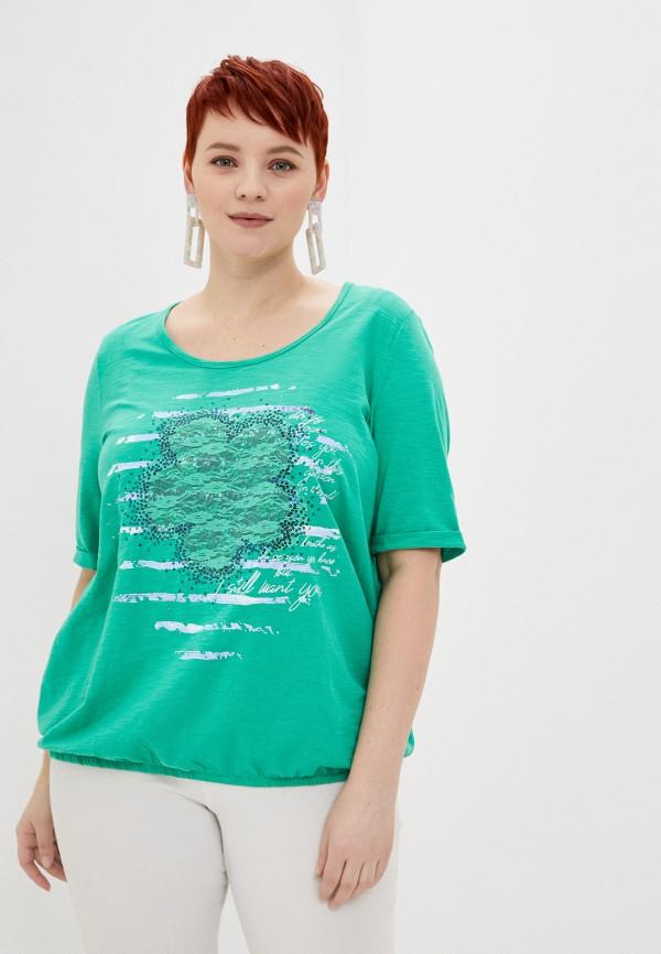 женская футболка samoon by gerry weber, зеленая