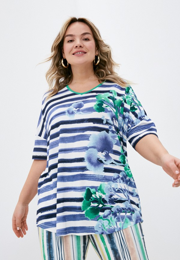 женская футболка samoon by gerry weber, синяя