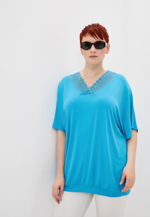 женская футболка samoon by gerry weber, голубая