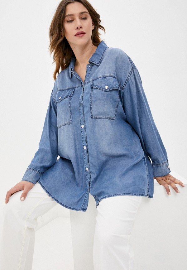 женская джинсовые рубашка samoon by gerry weber, голубая