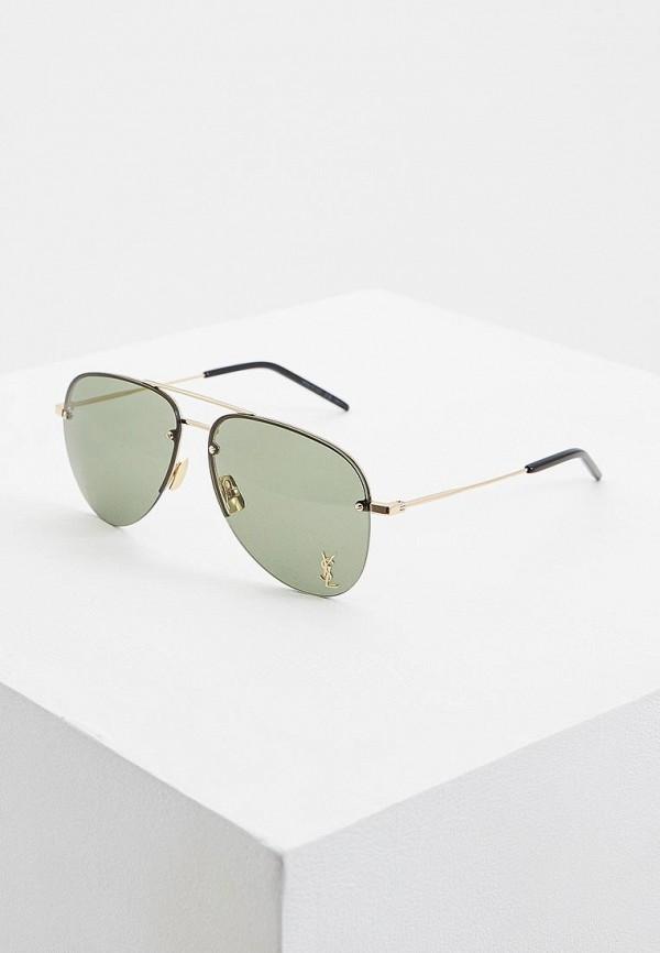 женские солнцезащитные очки saint laurent, зеленые