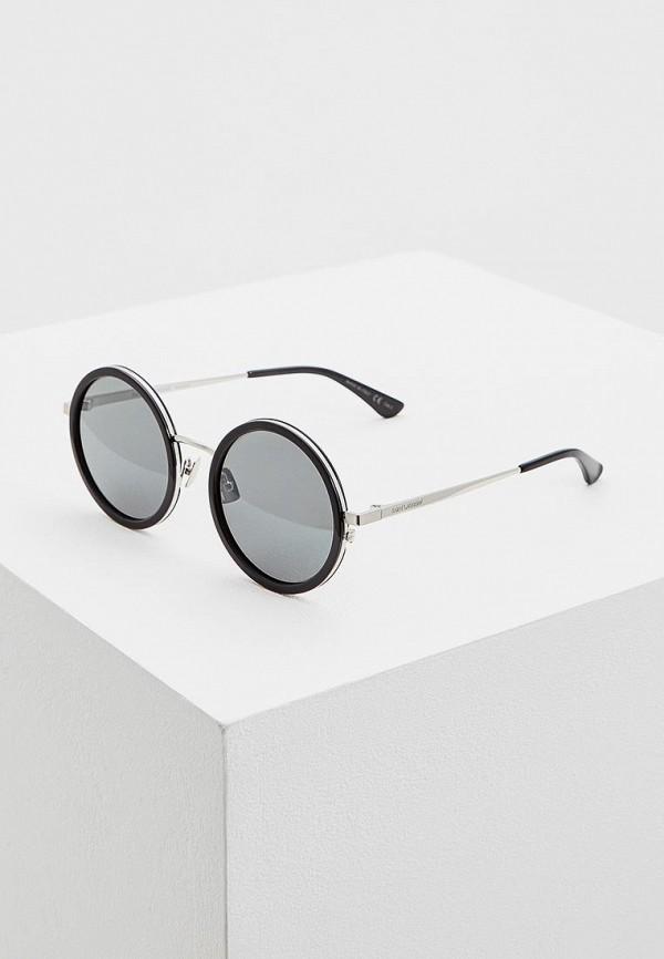 женские круглые солнцезащитные очки saint laurent, черные