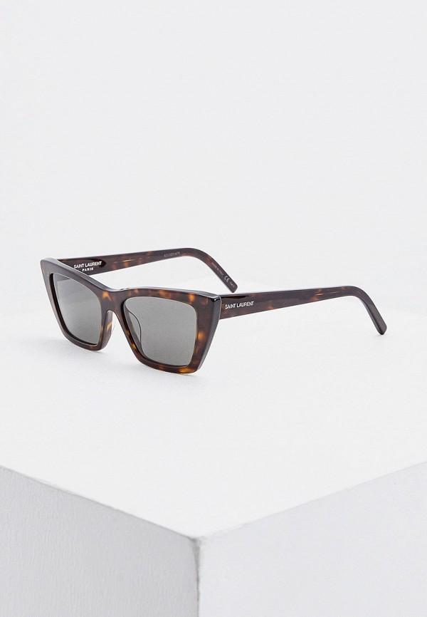 женские солнцезащитные очки saint laurent, коричневые