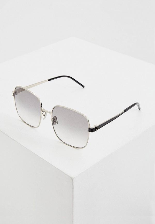 женские солнцезащитные очки saint laurent, серебряные