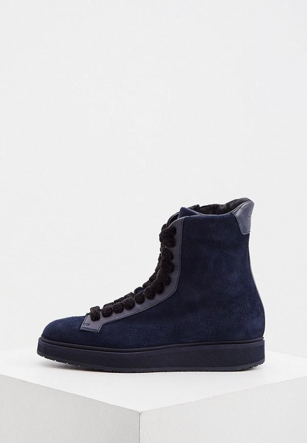 женские высокие ботинки santoni, синие