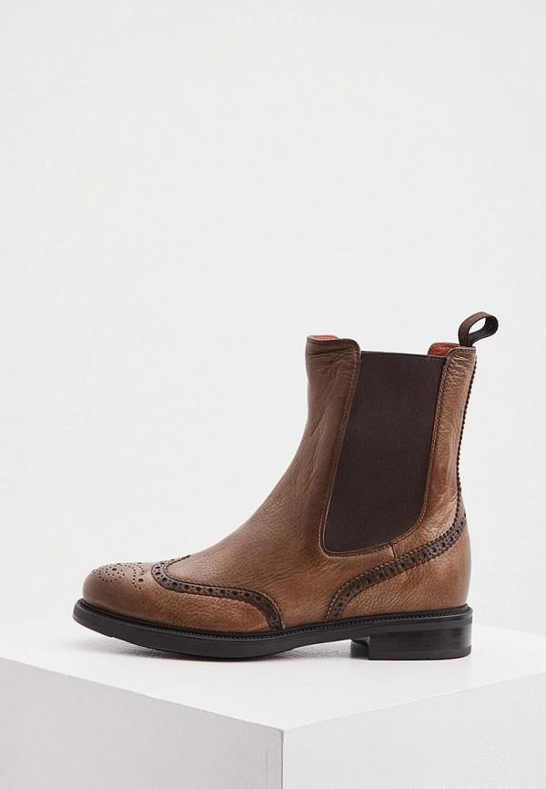женские ботинки-челси santoni, коричневые