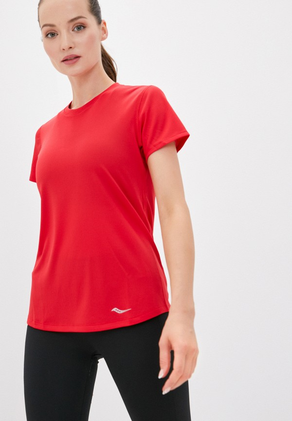 женская спортивные футболка saucony, красная