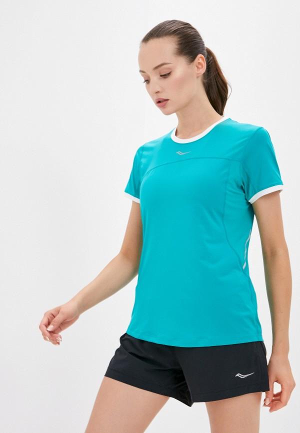 женская спортивные футболка saucony, зеленая
