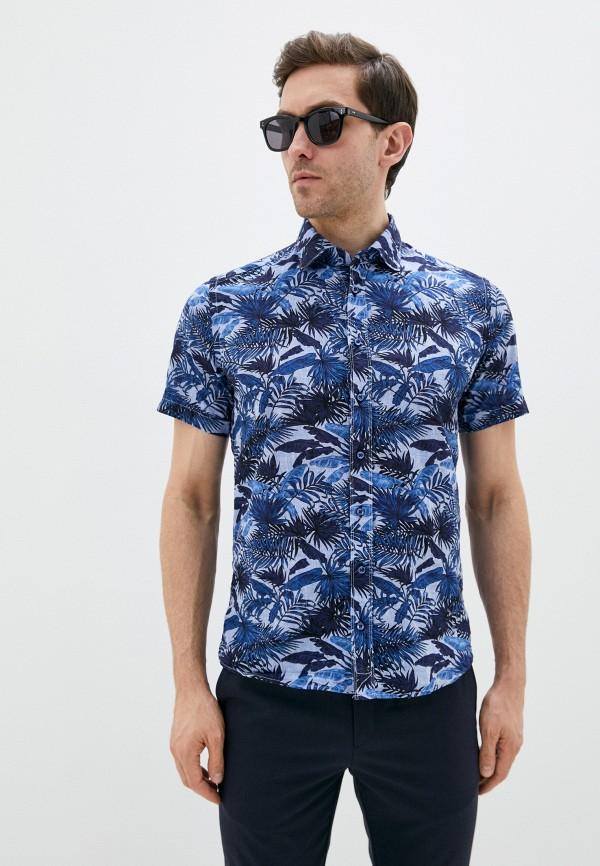 мужская рубашка с коротким рукавом sand, синяя