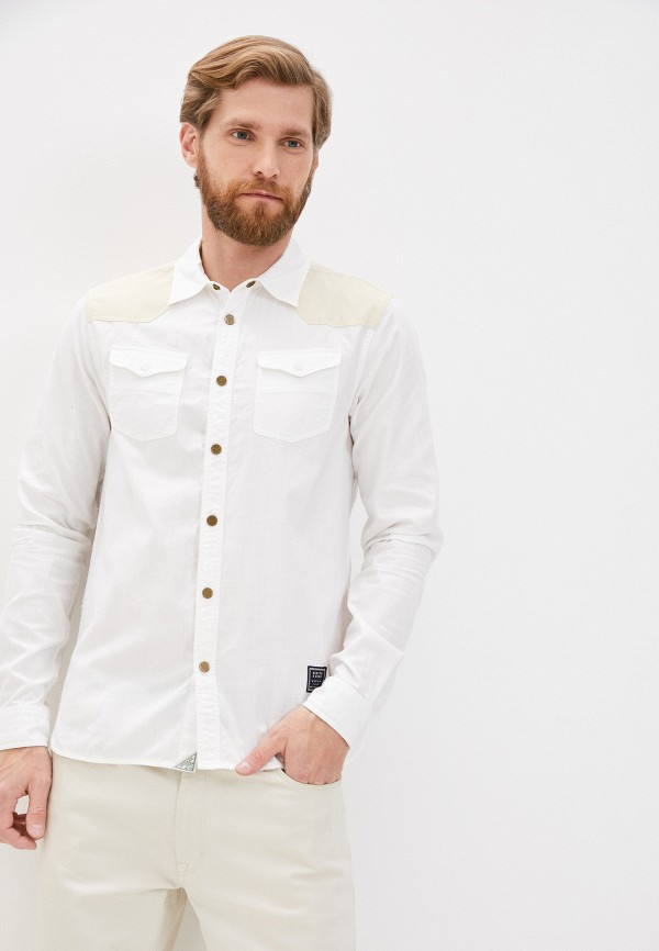 мужская рубашка с длинным рукавом scotch&soda, белая