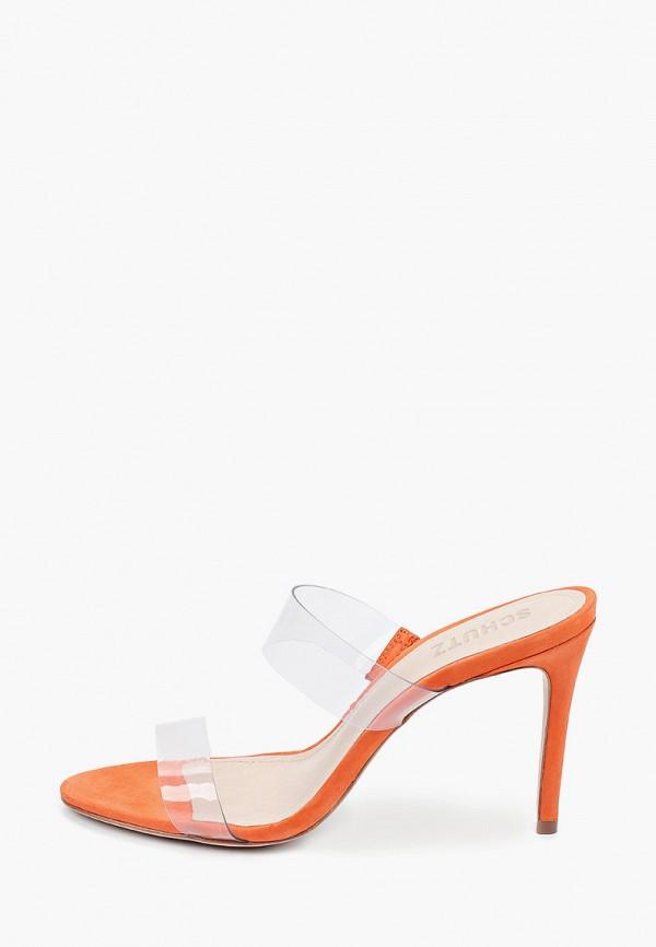 женское сабо schutz, оранжевое