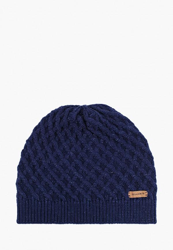 женская шапка sela, синяя