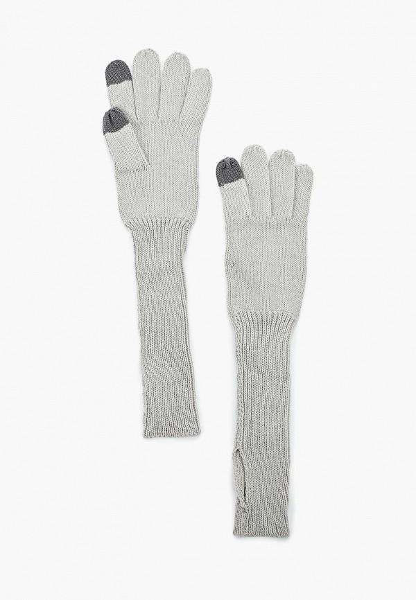 Фото - женские текстильные перчатки Sela серого цвета